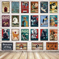 [ Kelly66 ] Beware Of Dog Schnauzer Man's Best Friend Metal Sign Tin Poster Home Decor Bar Wall Art Painting 20*30 CM Size Dy61