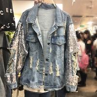 2019 Spring New Heavy Industry Sequins Denim Jacket Women Loose Jeans Coats Outwear Holes Girls Lady Cowboy Jackets Streetwear