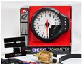 "White Face Tacho Meter Gauge 4.7"" Tachometer Water Temp Oil Pressure Apexi 3-in-1 Blue Light"