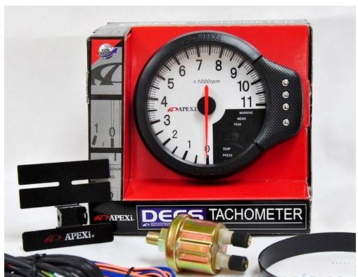 "White Face Tacho Meter Gauge 4.7"" Tachometer Water Temp Oil Pressure Apexi 3-in-1 Blue Light"