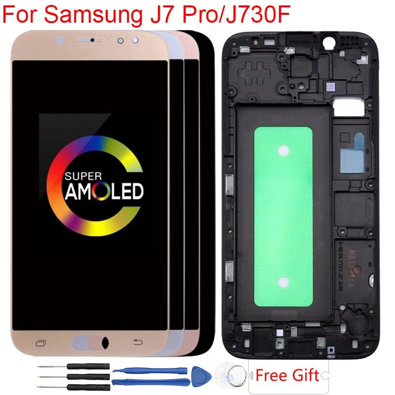 Écran AMOLED pour Samsung Galaxy J7 Pro 2017 J730 J730F LCD cadre écran tactile numériseur assemblée remplacement écran LCD