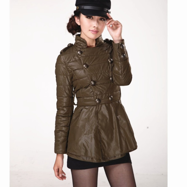 2013 free shipping New Arrival Hot Sale  Korean Style Lotus Leaf Lap Double Breasted Stand Collar Army Green QM13062813-2