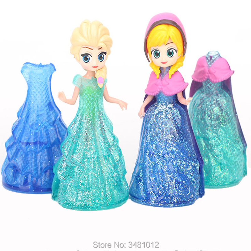 Magiclip Elsa Anna Princess Dolls Gliter Model Magic Clip Dress Snow Queen PVC Action Figures Olaf Dolls Figurines Kids Toys
