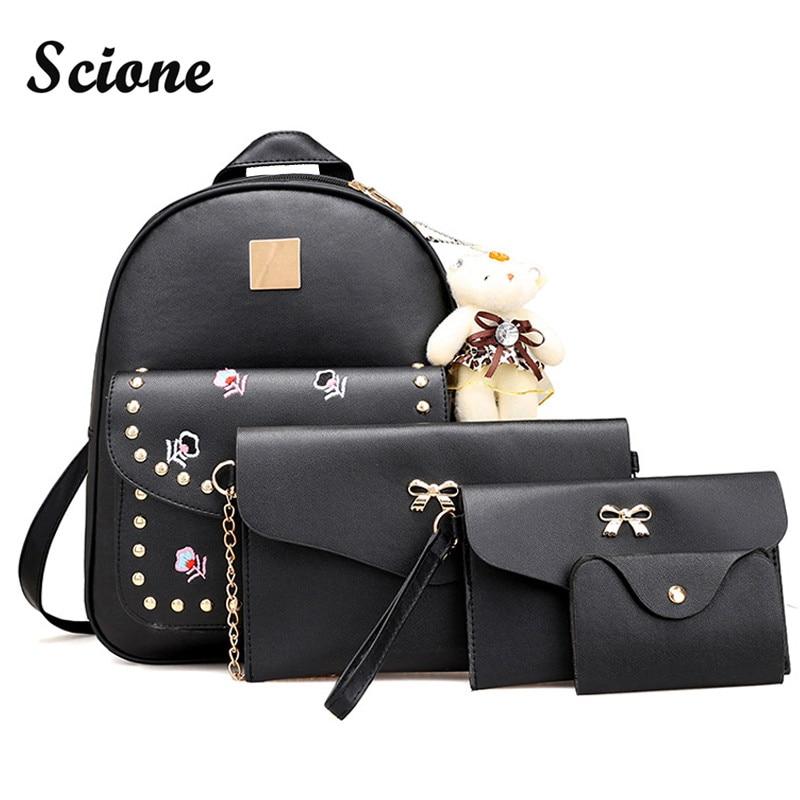 Scione 5PCS Set Women Backpack Set PU Leather Pack Bag Kawaii School Bag Fresh Style Backpacks