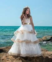 Beach Ivory&Gold Lace Sleeves Flower Girl Dresses Girls' Pageant Dresses Birthday Princess Dress Custom Made Size 2 14 F18522