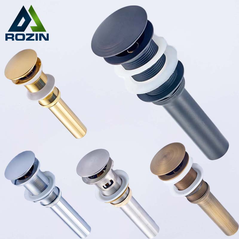 Rozin Antique Brass Finished Basin Sink Tap Push Pop Up Click Clack Waste Plug Drain Stopper with Overflow