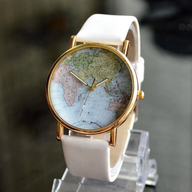 Aliexpress buy hot fashion world map women dress watch hot fashion world map women dress watch quartz casual wristwatches ladies rhinestone hours new 2016 sciox Choice Image