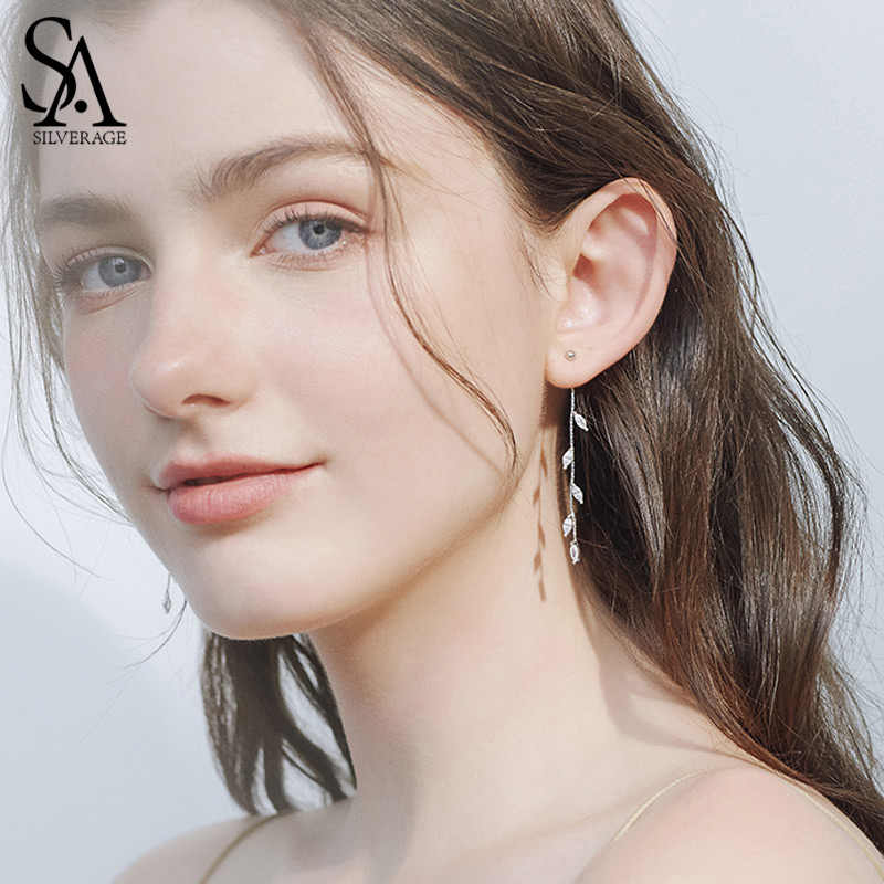 SA SILVERAGE 925 Sterling Silver Olive Leaf Drop Earrings for Woman AAA Zirconia Long Earrings 925 Silver Earrings Jewelry