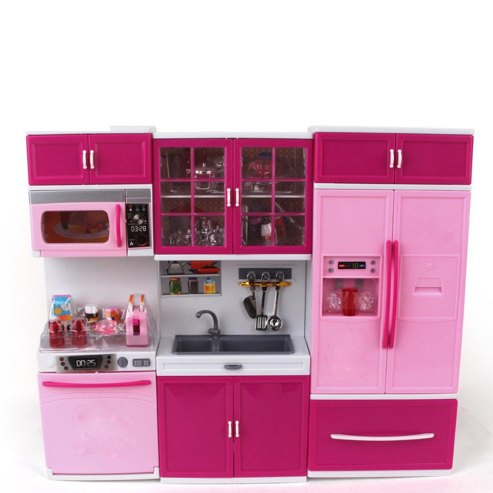 Kids Large Children /27s Kitchen With Sound And Light Girls Pretend Cooking Toy Play Set Pink Simulation Cupboard Gift Toy Food