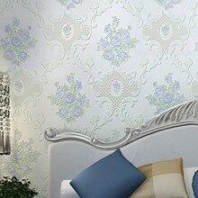 Europäischen Stil Garten Blumen Vlies Relief Schlafzimmer Hochzeitszimmer  Tapete Romantische Rosa Lila Tapete(China)