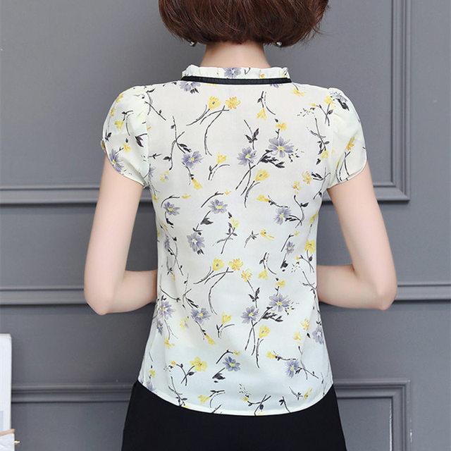 New 2018 Floral Chiffon Blouses Women Summer Tops And Shirts Bow Sweet Blouse Female Short Sleeve Clothing Feminina 0009 30 3
