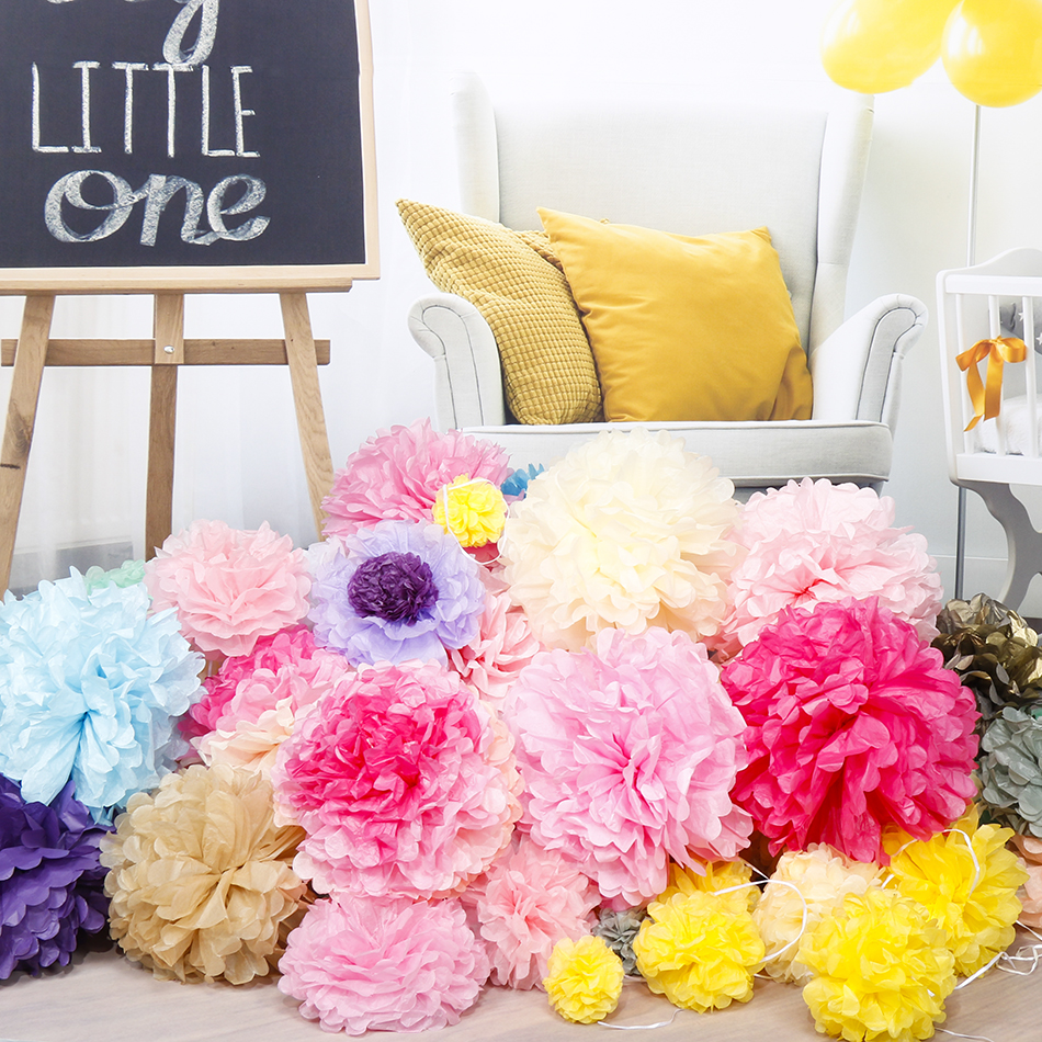 "40Pcs 4″6″8″10""(10cm,15cm,20cm,25cm)Tissue paper pom poms Mix color flower balls for wedding party home decoration"