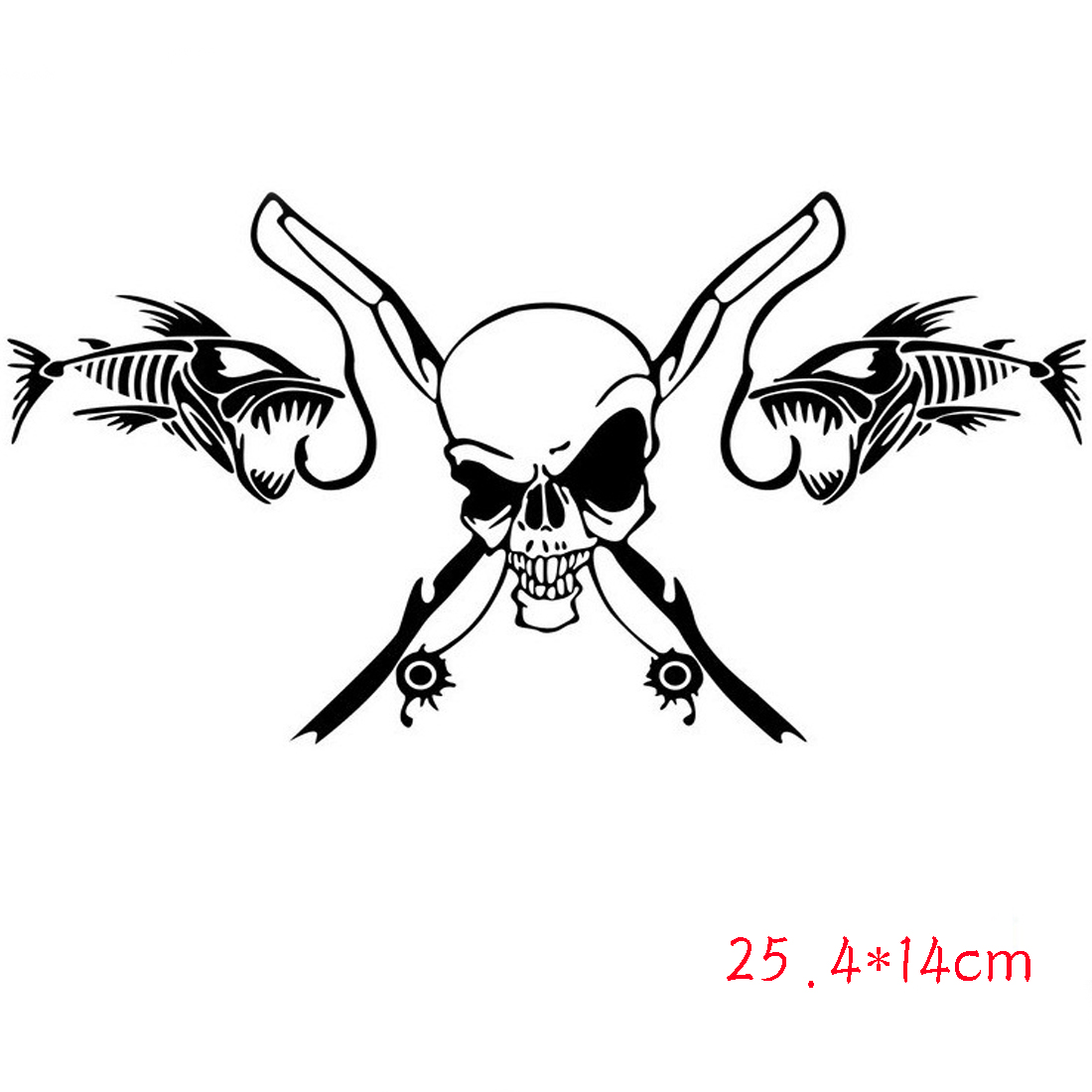 Dewtreetali Hot sale Fishing Skull Skeleton Fish Rod Reel Car Sticker Classic Funny Body Decoration