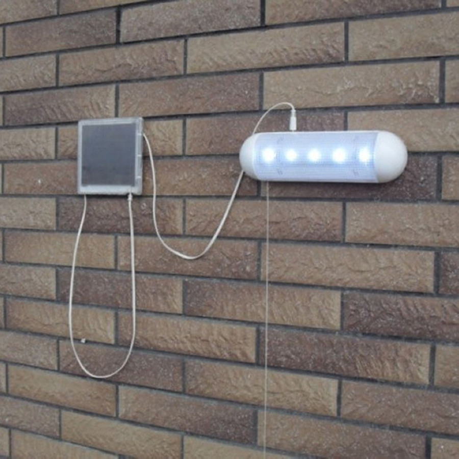 Thrisdar 5Leds Indoor Split Solar Pull Light Outdoor Solar Panel Garden Path Wall Shed Fence Lamps With Pull Switch