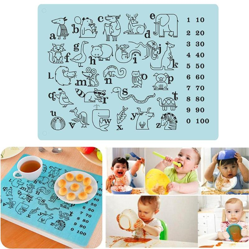40x30cm Silicone Non-Slip Puzzle Design Kids Table Mat Placemat Waterproof Insulation Cup Pad Children Dining Table Mat