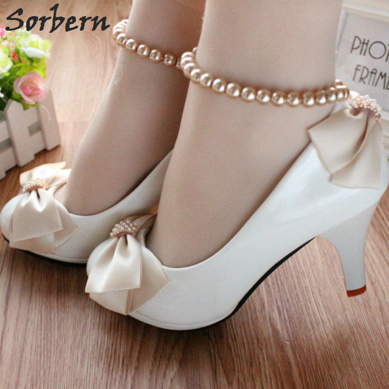 Sorbern Champagne Bow White Wedding Shoes Beading Ankle Straps Cheap Low Heels  Ladies Pumps Bridal Shoes 2023e8163a2f