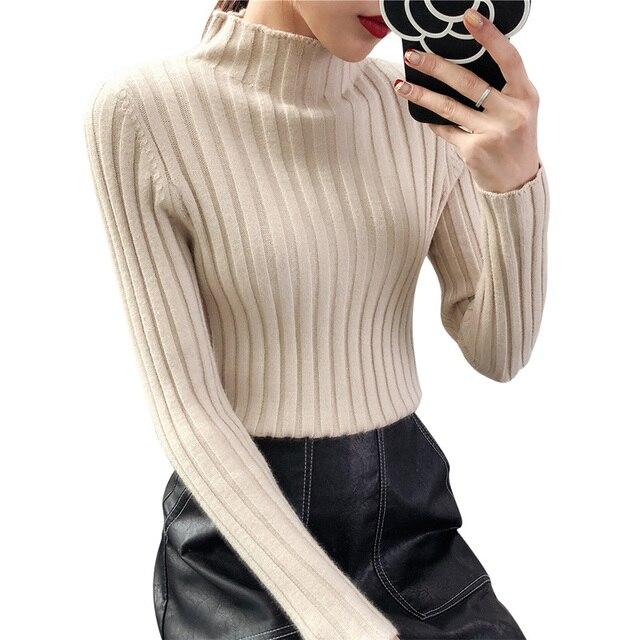 Pull Femme Half Tutleneck Sweater Women Korean Basic Autumn Winter New Thick  Long Sleeve Slim Pullover Tops Warm Knitwear 54a44fc52