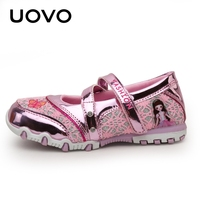 UOVO Brand Children Shoes Girls Shoes Spring 2018 Fashion Breathable Hook And Loop Kids Princess Shoes