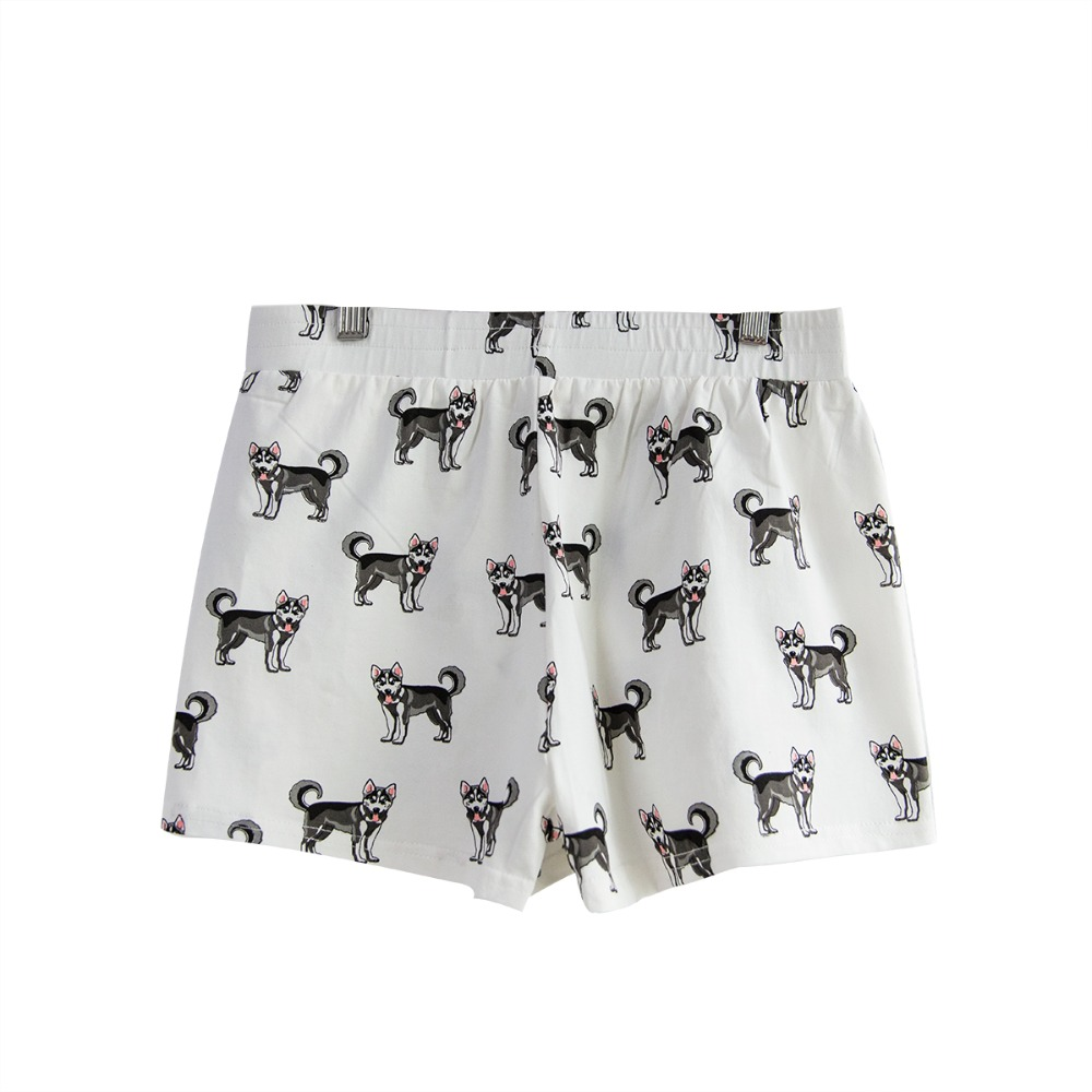 Shipping From The Us Summer Pajama Shorts Sleep Bottoms Husky Print Cotton Elastic Waist Loose Nightwear Pijama Mujer B79201gr