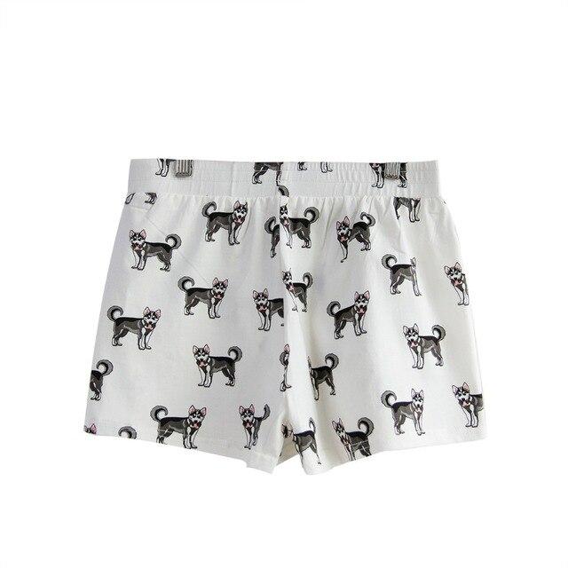 Winsleter From US Summer Pajama Shorts Sleep Bottoms Husky Print Cotton Elastic Waist