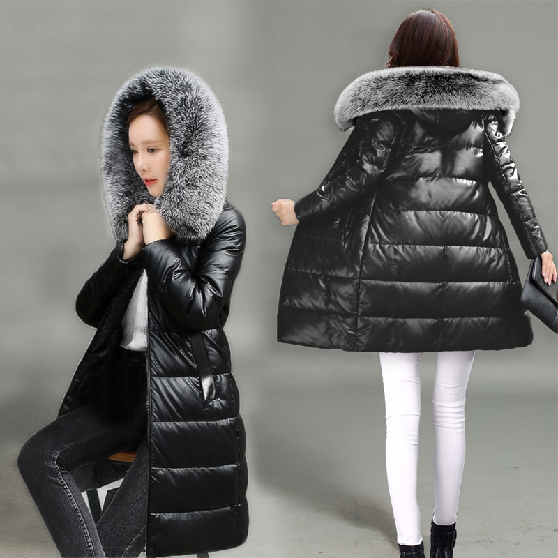 Winter PU Faux   Leather   Jackets With Fur Collar Women Medium Long Hooded Coats Long Sleeve Thick Outerwear Cotton Warm Slim OL