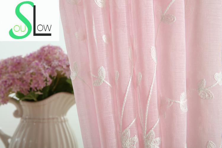Slow Soul Green Pink Blue Yellow Grass Flower Embroidered Curtain ...