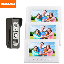 7″ Monitor Video Doorbell Door Phone Kit IR Night Vision Aluminum Alloy Door Camera Video interphone Intercom system 3-Screen