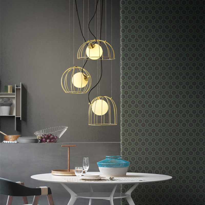 Northern Europe Designer Bird Cage Pendant Light Creative Gold Cage Dining Living Room Light Kitchen Led Lights Free SHipping northern europe creative style vintage rectangle crystal pendant light parlor light dining room decoration lamp free shipping