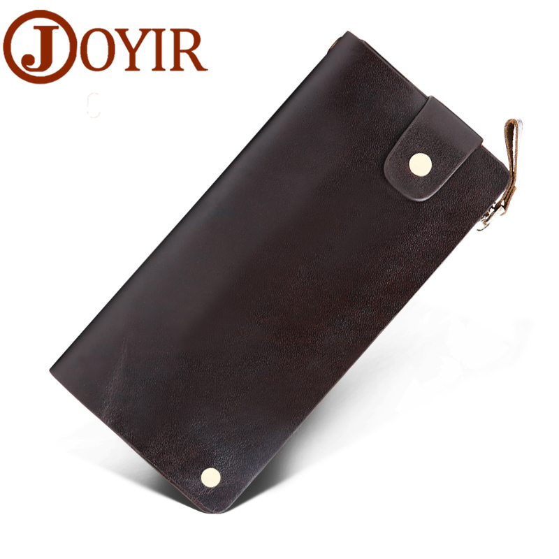 JOYIR Genuine Leather Men Wallets Zipper Design Business Male Wallet Fashion Purse Card Holder Long Clutch Wallets 9335