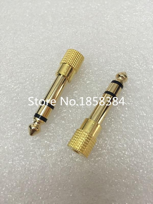 "2 Pcs Brass Gold 1//4/"" 6.35mm To 3.5mm Plug Stereo Audio Headphone Screw"