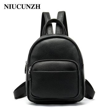 NIUCUNZH Female School bags for teenage girls with phone pocket Backpack Casual Mini Genuine Leather Rucksack Women's Backpacks