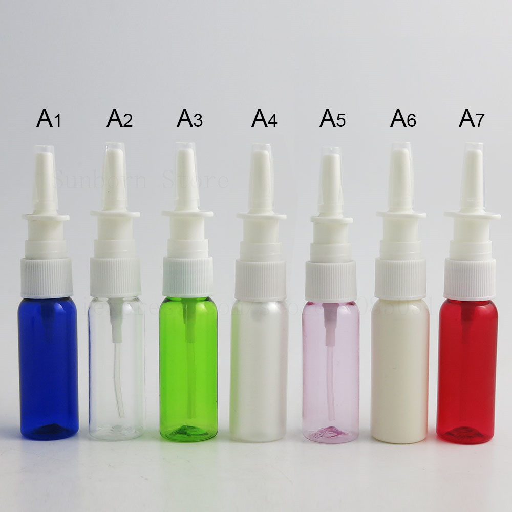 50pcs colorful nasal PET plastic <font><b>bottle</b></font> makeup liquid dispensing tool with fine mist sprayer Cosmetic Nose <font><b>spray</b></font> <font><b>bottle</b></font> 20 ml image