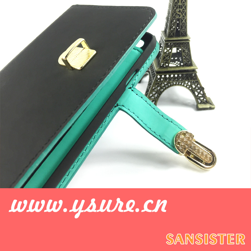Brand cases for iphone 5s with makeup mirror stand function card slot money pocket fashion contrast color design party gift