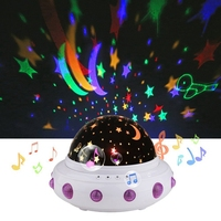 UFO Shape Music Starry Star Minions Projection Night Light Romantic Rotate LED USB Battery Table Lamp