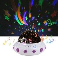 UFO Shape Music Starry Star Minions Projection Night Light Romantic Rotate LED USB Battery Table Lamp