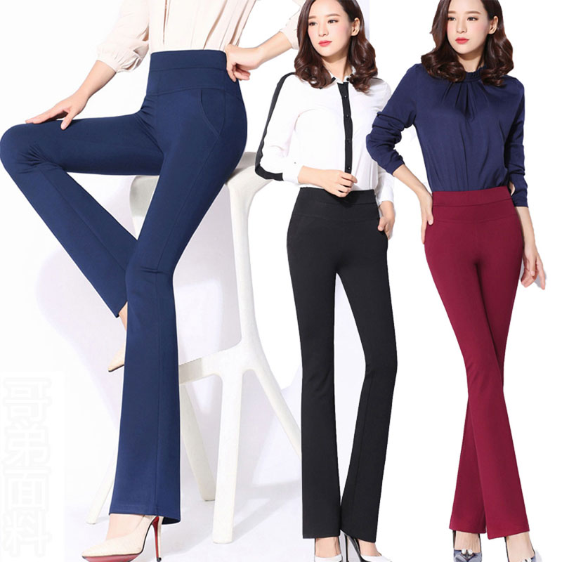 Autumn High Quality OL Solid Flared Long Pants Womens Stretch Slim Trumpet Trousers Navy Burgundy Formal Elegant Business Pants