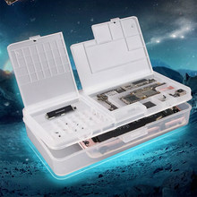 5pcs/lot SUNSHINE SS-001A Mobile Phone LCD Screen Mainboard IC Parts Repair Multi-function Storage Box(China)
