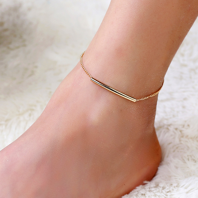 Hot Selling Simple Style Metal Small Strips Anklets Chain Gold Color Tone Fashion Foot Jewellery For Women Girls Beach Gifts