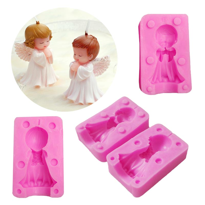 Boy Girl Angel Baby Shape Candle Mold 3D Silicone Handmade Soap Molds Clay Sugarcraft Mould Cake Chocolate Fondant Baking Moulds in Clay Extruders from Home Garden