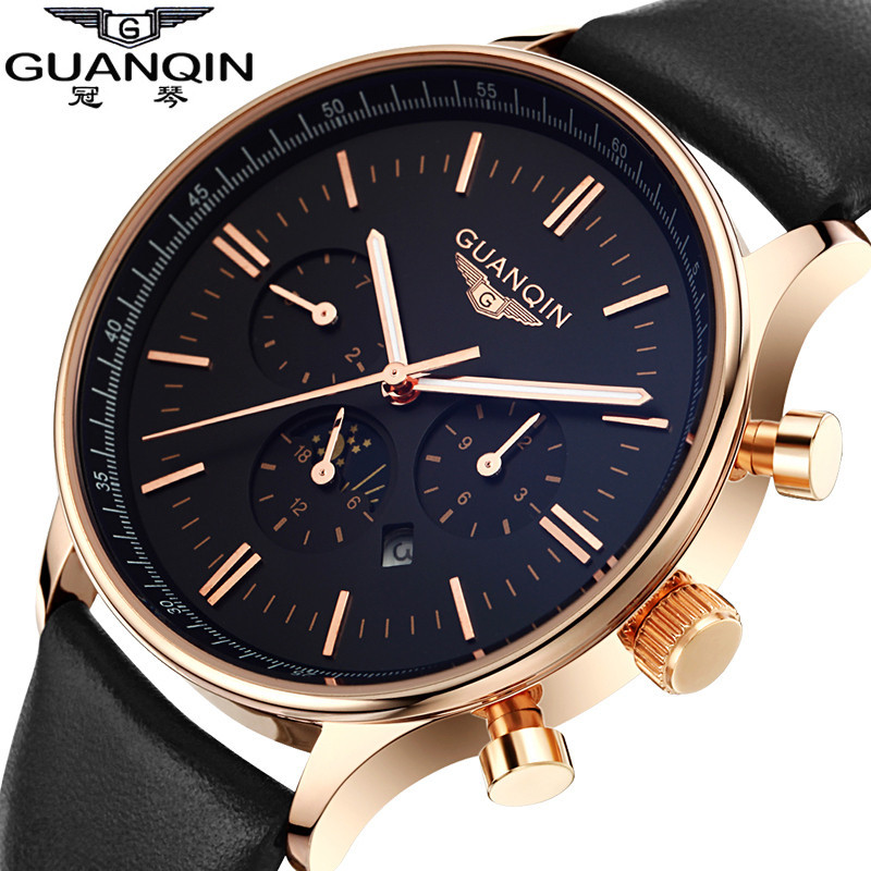 ФОТО Men Watch Top Brand Luxury GUANQIN Fashion Casual Sport Waterproof Quartz-Watch Genuine Leather Watchband Relogio Masculino 2016