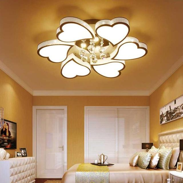 Bright Living Room Ceiling Lights Curio Cabinets Romantic Fashion Led Heart Shaped Lamps High Power