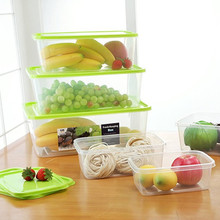 Kitchen refrigerator sealed crisper storage box rectangle preservation case eco-friendly plastic 6pcs/set