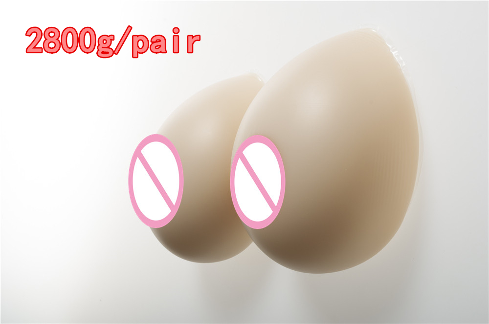 2800g/pair Crossdresser Simulation Silicone Breastforms Transgender False Breast Enhancer Fake Boobs GG Cup