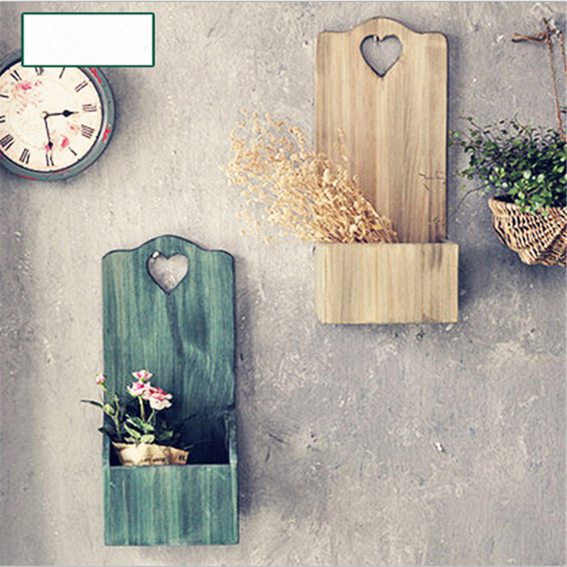 1 pcs vintage wooden letter box hanging organizer holder rack postoral style for wall storage box