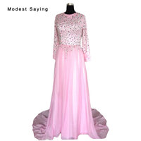 Real Pink A Line Round Neck Beaded Muslim Long Sleeve Silk Chiffon Evening Dresses 2017 Formal Women Long Party Prom Gowns YSE24