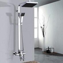Uythner, лучшее качество, хром/черный смеситель для душа, кран, вращающаяся ванна, носик, настенное крепление, 8 дюймов, насадка для душа с дождевой насадкой, ручной душ