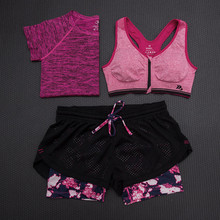 Yoga Sets Women Gym Fitness Running Clothes Breathable Sports Bra Shorts Shirt 3pcs set