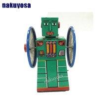 Frisbee/disco Voador brinquedos coleção Clássico Retro Clockwork Wind up Metal Andando robô brinquedo de natal para crianças presente de aniversário