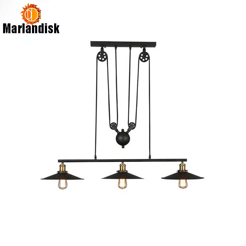 Vintage Iron Loft Industrial Indoor Lamp American Country Pulley Pendant Lights Adjustable Wire Lamp 3 Head Black Hanging LightsVintage Iron Loft Industrial Indoor Lamp American Country Pulley Pendant Lights Adjustable Wire Lamp 3 Head Black Hanging Lights