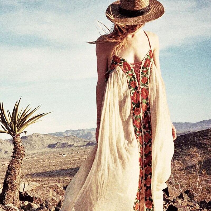 KHALEE YOSE Floral broderie Boho Maxi robes d'été plage robe épaule dénudée coton Hippie gitane Vintage Sexy robe de vacances